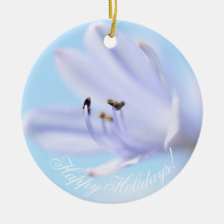 Happy Holidays Gorgeous Flower Ceramic Ornament