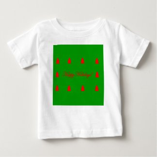 Happy Holidays Green and Red Christmas Tree Baby T-Shirt