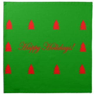 Happy Holidays Green and Red Christmas Tree Napkin