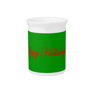 Happy Holidays Green and Red Christmas Tree Pitcher