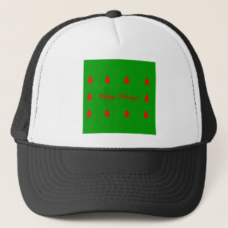 Happy Holidays Green and Red Christmas Tree Trucker Hat