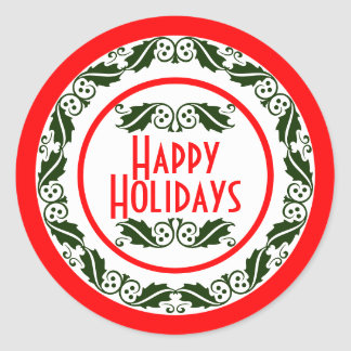 Happy Holidays Green Holly Wreath Classic Round Sticker