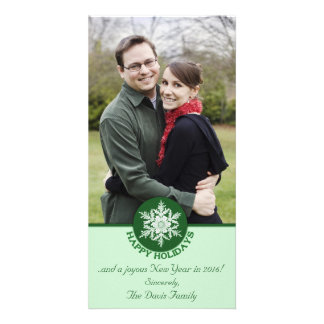 Happy Holidays Green Paper Snowflake 4x8 Photo Cards