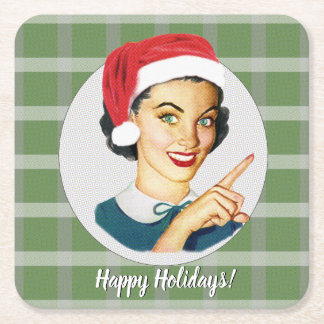 Happy Holidays! Green Plaid Square Paper Coaster