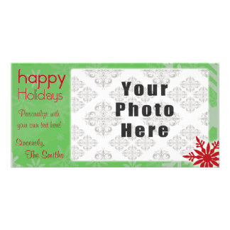 Happy Holidays Green/Red Snowflake theme Personalised Photo Card