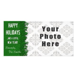 Happy Holidays Green Snowflake Custom Photo Card