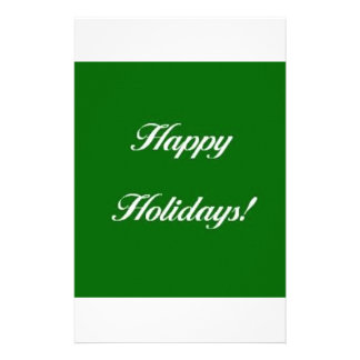 Happy_Holidays_Green Personalized Stationery