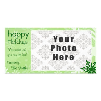 Happy Holidays Green Themed Snowflake Picture Card