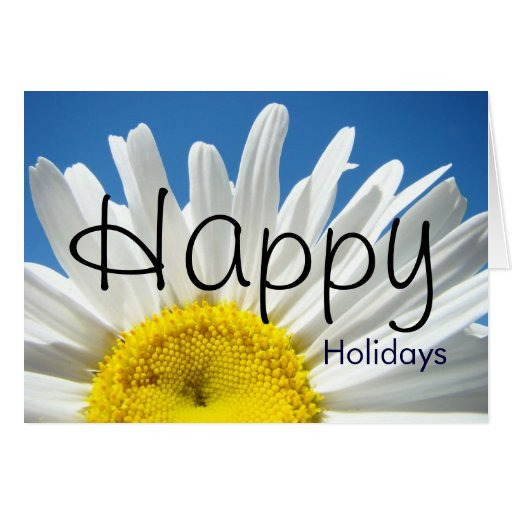 Happy Holidays greeting Cards Daisy Floral Flowers