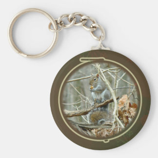 Happy Holidays Greeting - Gray Squirrel Basic Round Button Key Ring