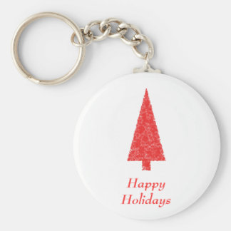 Happy Holidays Greeting. Red Christmas Tree Key Chains