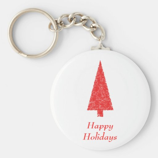 Happy Holidays Greeting. Red Christmas Tree Key Chains