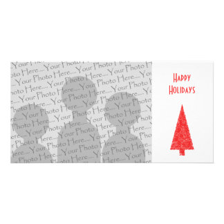 Happy Holidays Greeting. Red Christmas Tree Picture Card