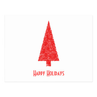 Happy Holidays Greeting. Red Christmas Tree Postcard