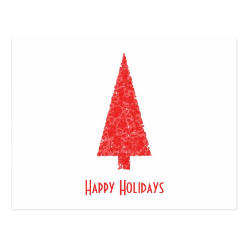 Happy Holidays Greeting. Red Christmas Tree Post Card