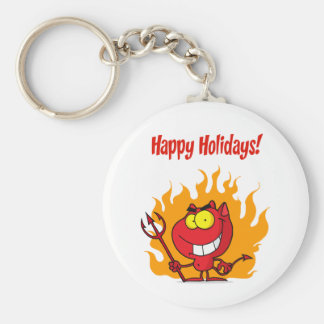 Happy Holidays Greeting With Halloween Devil Basic Round Button Key Ring