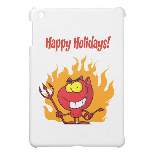 Happy Holidays Greeting With Halloween Devil iPad Mini Cases