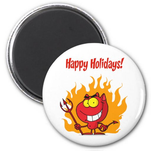 Happy Holidays Greeting With Halloween Devil Magnets