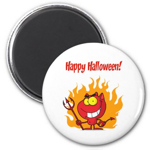 Happy Holidays Greeting With Halloween Devil Refrigerator Magnets