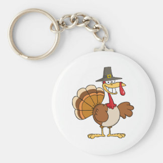 Happy Holidays Greeting With Turkey Basic Round Button Key Ring
