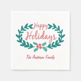 HAPPY HOLIDAYS HAND-DRAWN HOLLY WREATH WHITE DISPOSABLE NAPKINS