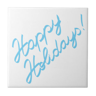 happy holidays  handwriting small square tile