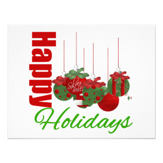 Happy Holidays Hanging Ornaments Personalized Announcements