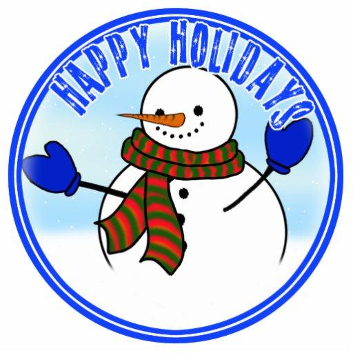 Happy Holidays - Happy Cartoon Snowman w/Mittens Photo Cutout