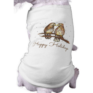 Happy Holidays Hawk Bird Snow Christmas Dog Tee
