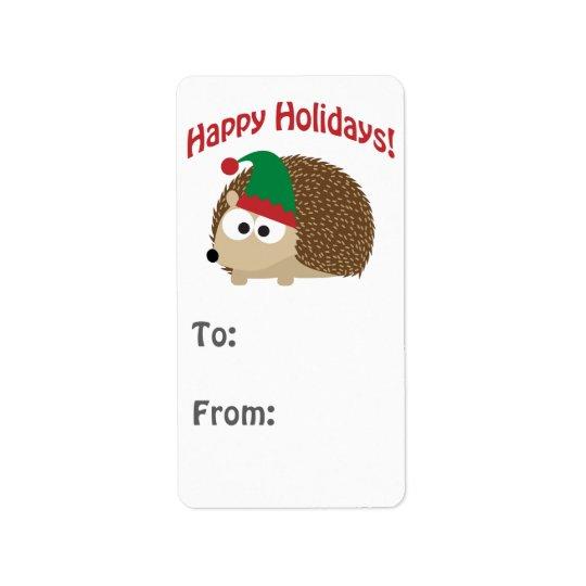 Happy Holidays! Hedgehog Gift tag Address Label