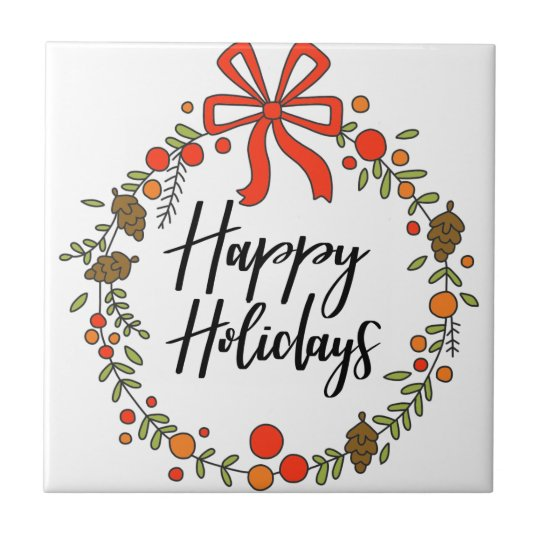Happy Holidays, Holiday Fun Ceramic Tile