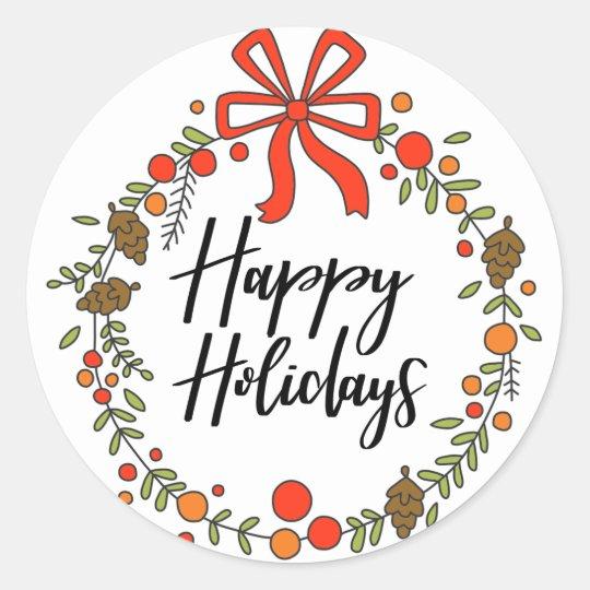 Happy Holidays, Holiday Fun Classic Round Sticker