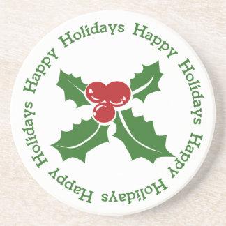 Happy Holidays Holly Berry Coaster