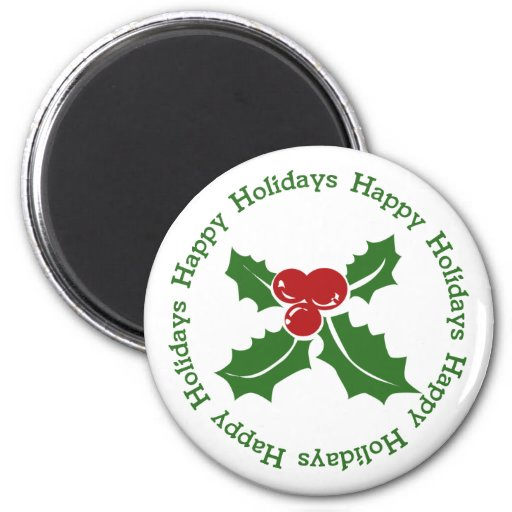 Happy Holidays Holly Berry Magnet
