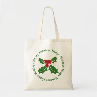 Happy Holidays Holly Berry Tote Bag