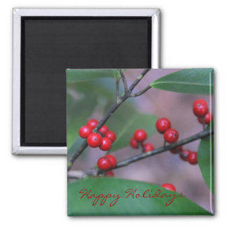 Happy Holidays Holly Christmas Magnet