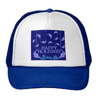 Happy Holidays Holly Mesh Hat