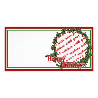Happy Holidays Holly Wreath Photo Frame Custom Photo Card