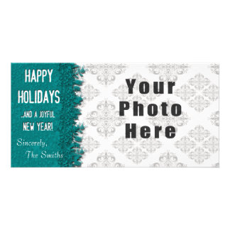 Happy Holidays Ice Blue Snowflake Picture Card