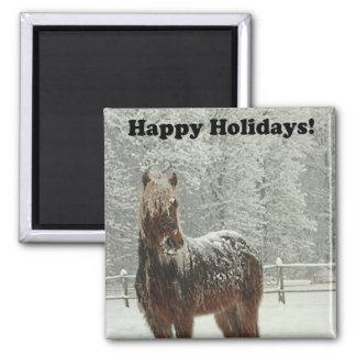 Happy Holidays Icelandic Horse Photo Square Magnet