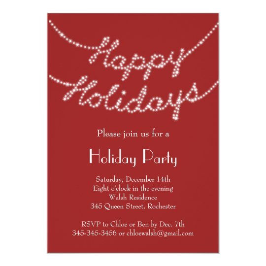 Happy Holidays in Twinkle Lights Party Invitation