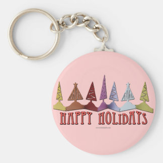 Happy Holidays... Basic Round Button Key Ring