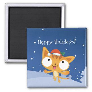 Happy Holidays Kitty Magnet