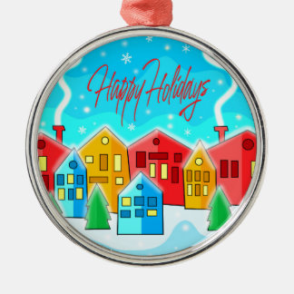 Happy Holidays - landscepe Silver-Colored Round Decoration