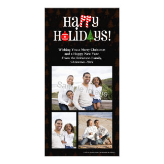 Happy Holidays Letter Icons Photo Card