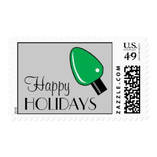 Happy Holidays Light Bulb Postage (Green)