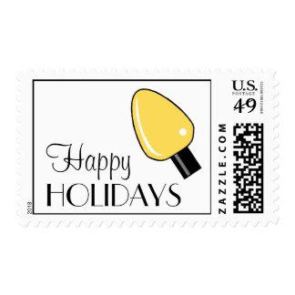 Happy Holidays Light Bulb Postage (Yellow)