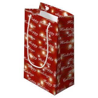 Happy Holidays lights string on red Small Gift Bag