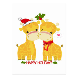 Happy Holidays Love Giraffes Postcard