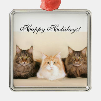 Happy Holidays Maine coon cats ornament